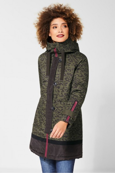 Street One - Parka mit Leomuster in Olive Green