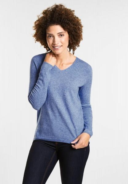 Street One - Weicher V-Neck Pullover in Jaspis Blue Melange