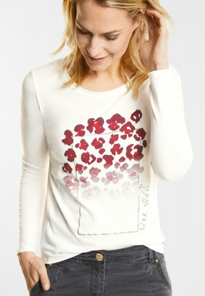 CECIL - Shirt mit Animal Frontprint in Pure Off White