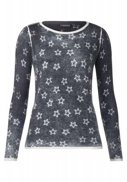Street One - Pullover mit Sternen Ella Pride Grey