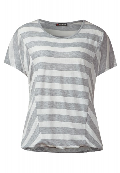 Street One - Gestreiftes Shirt Florina Ghost Grey Melange