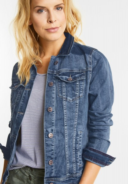 CECIL - Denim Jacke im Patch Look in Mid Blue used Wash