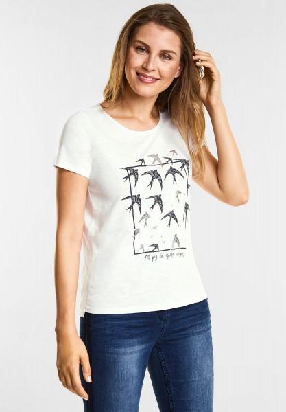 CECIL - Vogelprint Shirt in Pure Off White
