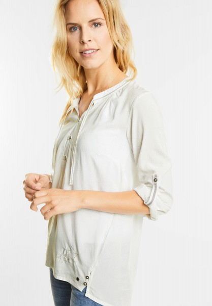 CECIL - Weiche Bluse mit Sternmuster in Pure Off White