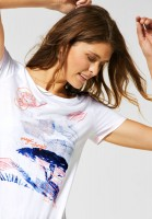 CECIL - T-Shirt mit Dschungelmuster in White