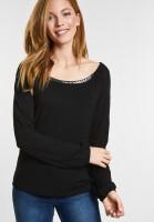 CECIL - Weiches Paillettenshirt in Black