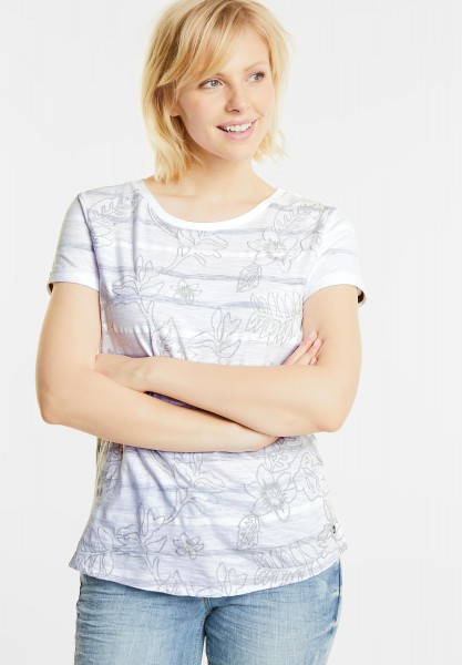 CECIL - Shirt mit Blätter Stitchings in Graphit Light Grey