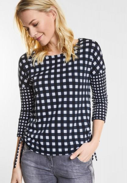 CECIL - Weiches Karo-Design Shirt in Deep Blue