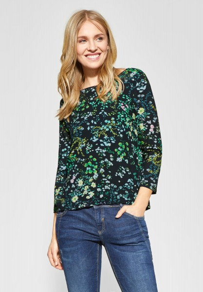 Street One - Allover Print Shirt Evi in Deep Blue