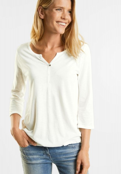 CECIL - Basic 3/4-Arm Shirt Amelie in Pure Off White