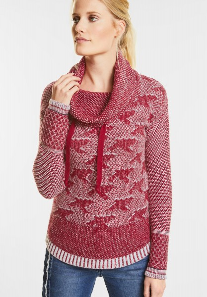 CECIL - Pulli im Jacquard Design in Cranberry Red