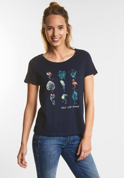 Street One - Print Shirt in Deep Blue