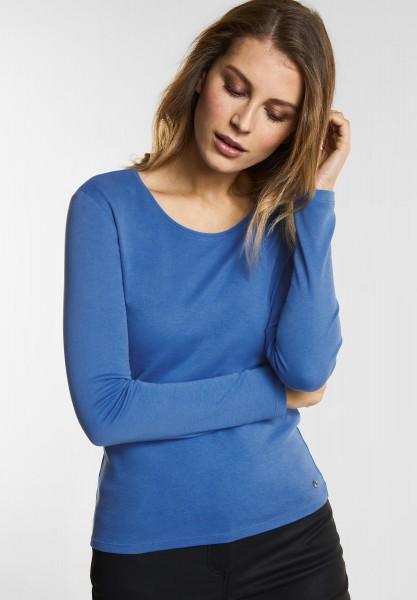 CECIL - Organic Baumwoll Shirt Pia in Cornflower Blue