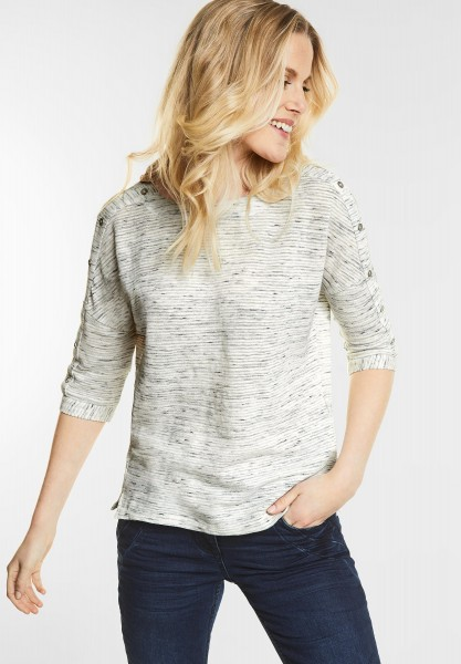 CECIL - Kurzes Shirt mit Zierknöpfen in White