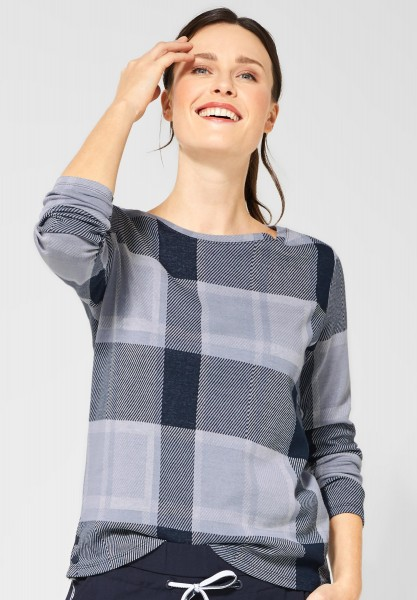 CECIL - Shirt mit Karomuster in Deep Blue