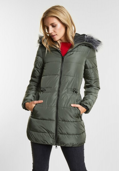 Street One - Wattierte Nylon Jacke in Woodland Green