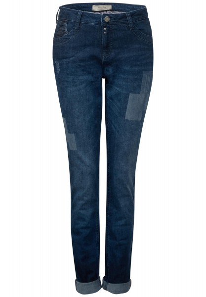Street One - Loose Fit Denim Mika in Blue High Low Effect Wash