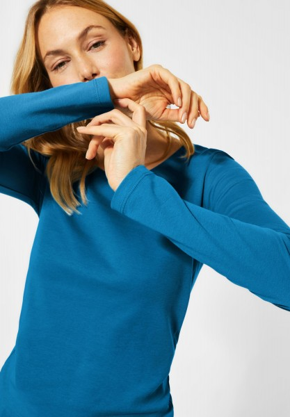 CECIL - Basic Langarmshirt in Bright Blue