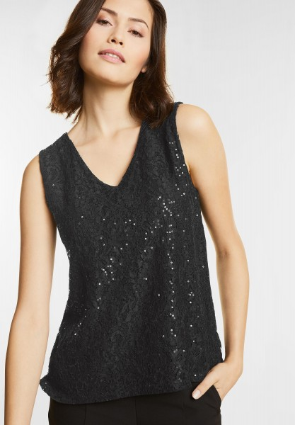 Street One - Spitzen Top mit Pailletten in Black