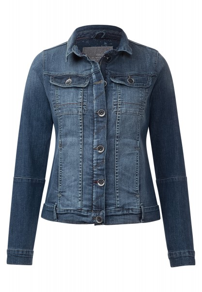 CECIL - Kurze Used-Look Jeansjacke Dark blue wash
