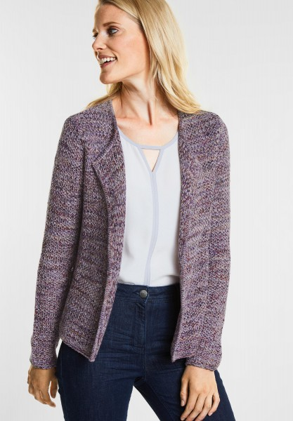 CECIL - Farbstarker Mouline Cardigan in Deep Blue