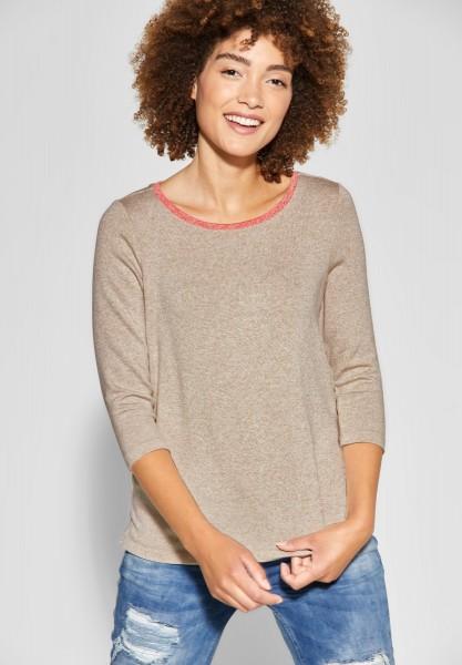Street One - Shirt mit Farbdetail Cessy in Bisquit Melange