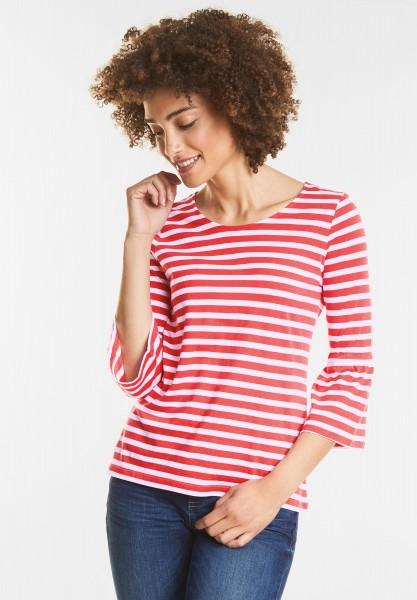 Street One - Weiches Streifenshirt in Hibiscus Red