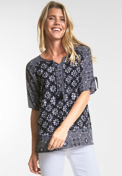 CECIL - Coole Grafik-Print Bluse in Deep Blue