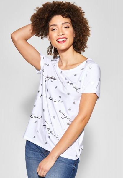 Street One - Print Shirt mit Pailletten in White