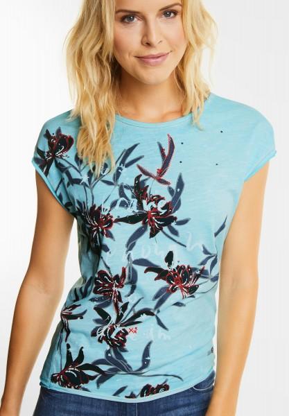 CECIL - Shirt mit tropischen Blüten in Blue Topaz
