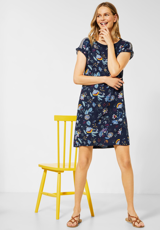 CECIL - Kleid mit Dschungel-Muster in Deep Blue reduziert ...