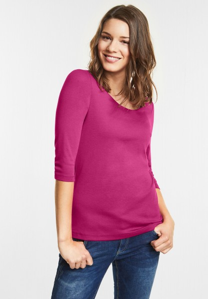 Street One Schmales Basic Shirt Pania in Dark electric Pink