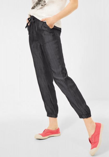 CECIL - Loose Fit Hose in Unifarbe in Grey Used Wash