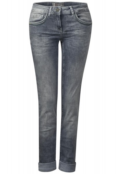CECIL - Hellgraue Jeans Charlize in Mid Grey Used Wash