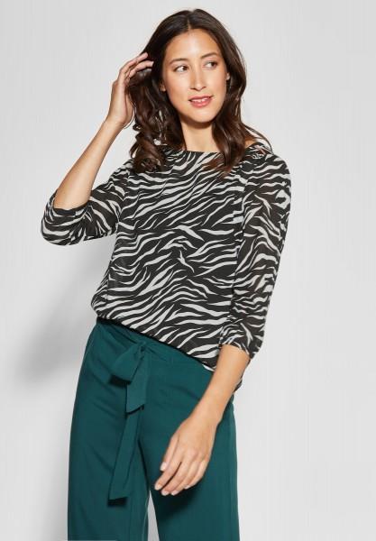 Street One - Print-Bluse im Zebra-Look in Black