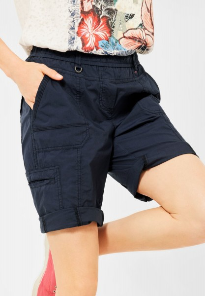 CECIL - Loose Fit Shorts in Unifarbe in Deep Blue
