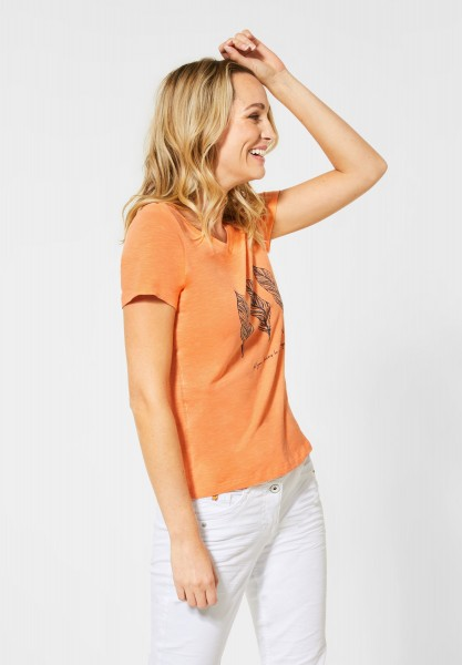 CECIL - T-Shirt mit Frontprint in Cantaloupe Orange