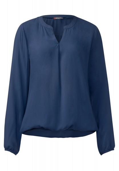 Street One - Bluse mit Gummibund Idwina Delta Blue Uni