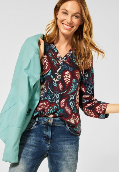 CECIL - Paisley Print Bluse in Deep Blue
