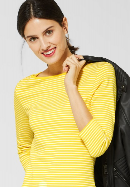 Street One - Basic Shirt mit Streifen in Shiny Yellow