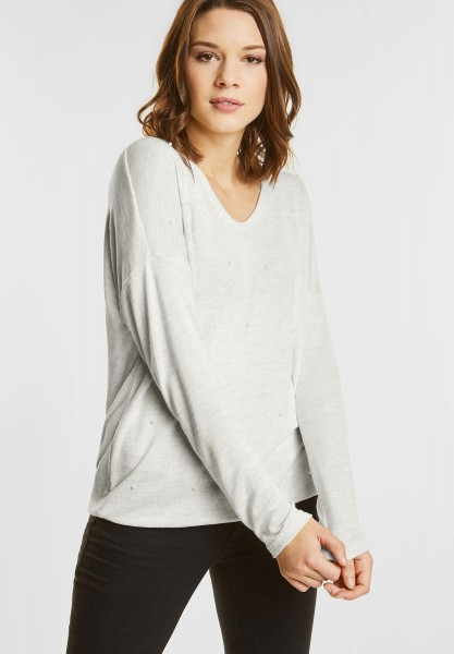 Street One - Strickshirt mit Perlen in Shell White Melange