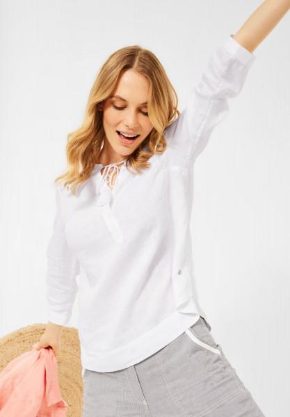 CECIL - Leinen Bluse in Unifarbe in White