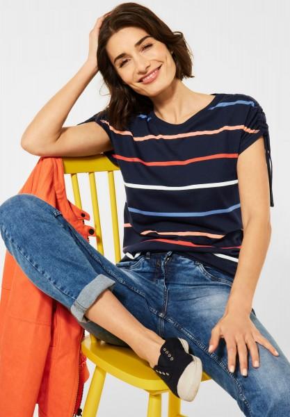 CECIL - T-Shirt mit Streifen Muster in Deep Blue