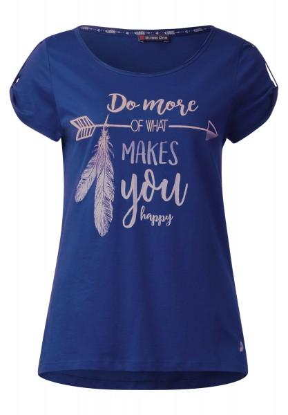 Street One - Shirt mit gerafftem Kurzarm in Lapis Blue