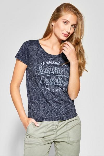 CECIL - Print Shirt mit Wording in Deep Blue