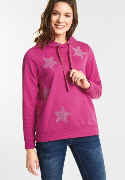 Street One Verzierter Sterne Hoodie in Dark Electric Pink