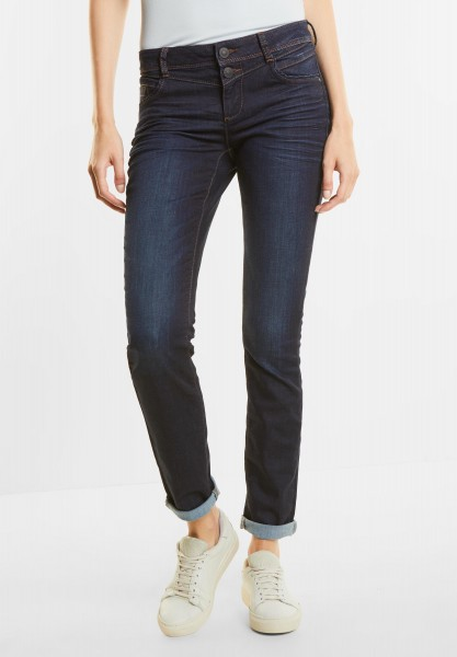 Street One - Washed Casual Fit Denim Jane in Dark Blue Rinsed Optic