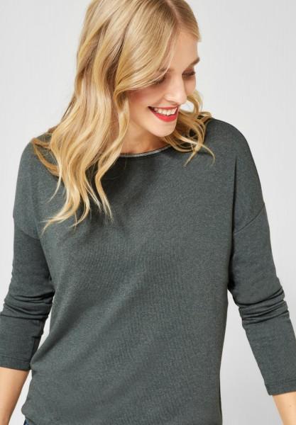 Street One - Shirt mit glitzerndem Kragen in Powder Green Melange