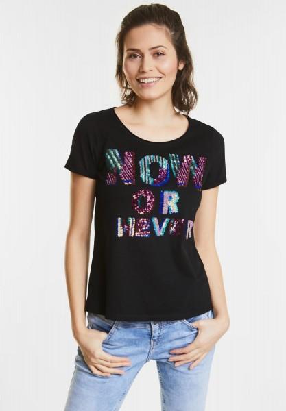 Street One - Pailletten-Print Shirt in Black