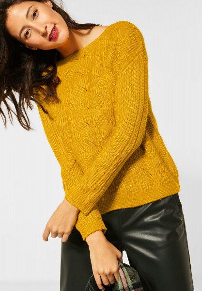 Street One - Pulli aus Grobstrick in Amber Yellow Melange